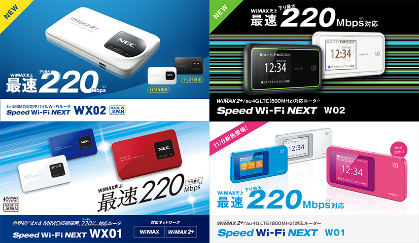 WiMAX2+のルーター